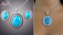 50% off Blue Stone Necklace and Earrings Set from Style ($25 instead of $50)