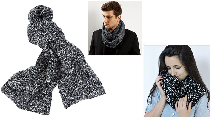 679464f55d1f Black   White Unisex Knitted Scarf