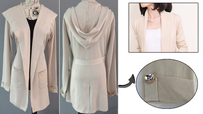 51aafcbbf4 72% off Soft Fabric Women s Cardigan with Cap ( 17 instead of  60)