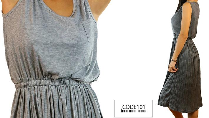 Code101 Casual Flare Pleated Dress Gosawa Beirut Deal