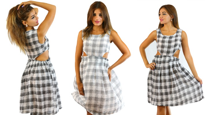 41265aeaea12 Checkered Open Sided Dress