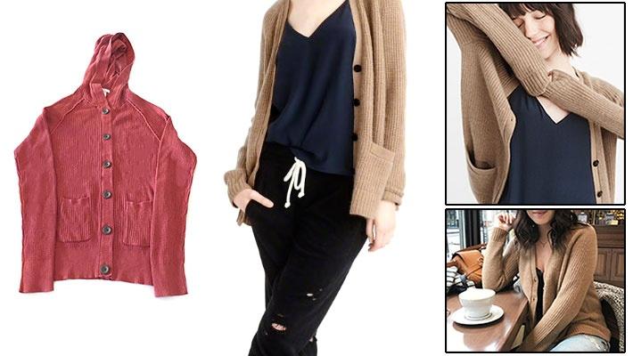 327bdbff8 Women's Knitted Buttoned Cardigan with Hood   Gosawa Beirut Deal
