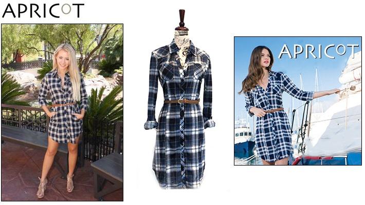a3d640b68 75% off Apricot Plaid Shirt Dress with Belt ($9.99 instead of $40)