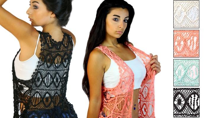 ce17d3a3ce 53% off CODE101 Boho Chic Knit Crochet Vest ($9.5 instead of $20)